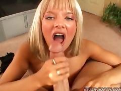 Gigi Ferari the nice blonde gives POv blowjob and gets facialed
