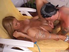 Desirable blondie Jasmine E gets fucked and fucks him anal