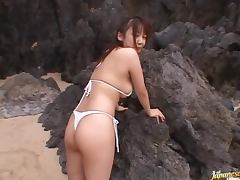 Super Hot Three Way Fuck With Busty Japanese Cutie On The Beach
