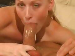 blonde gagging throatfuck cum swallow