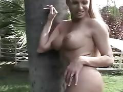 Two blonde shemales fuck a sexy girl on the poolside