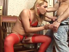 Sizzling tranny with monster cock fucks a guy in the ass