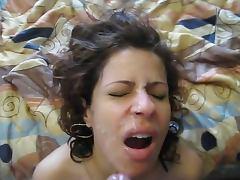 Facials for cuffed latina cutie nice nipples too