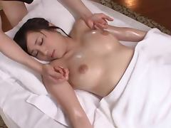 Hot Mao Kurata having hardcore sex with a masseur
