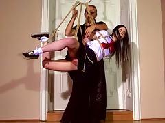 Tied schoolgirl Amber Nevada being humiliated