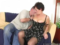 Grandma, Blowjob, Couple, Cumshot, Doggystyle, Hairy