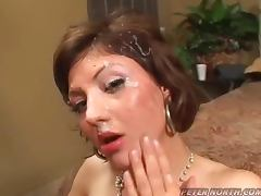Naughty Frankie Banks Cash sucks tow cocks and gets facialed