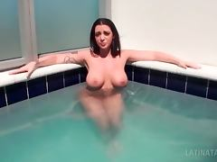 Brunette naked busty latina sucking a big dick in POV