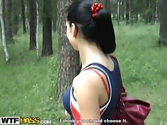 Anal and Fellatio with hot brunette in the woods porn video