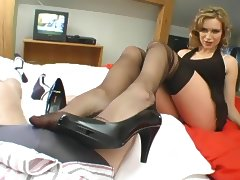 nylon lover with footjob porn video