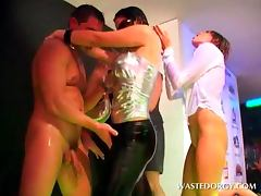 Drunk party hookers dancing with strippers at CFNM orgy