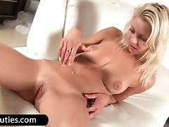 Gorgeous blond babe toy twat