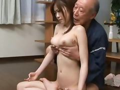 Busty Japanese hottie gets her pussy licked and fucked by some old man