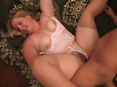 chubby hairy blonde in stocking sucks and fucks