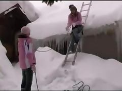 Cute lesbians masturbating in the snow
