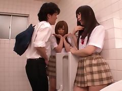 Curious schoolgirls Cocomi Naruse and Miina Kotaki play with a cock