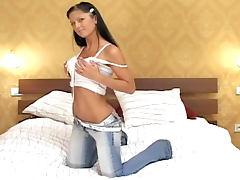 Bedroom, Bedroom, Brunette, Dildo, Jeans, Lingerie