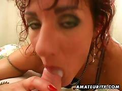 Redhead amateur wife sucks her man's cum