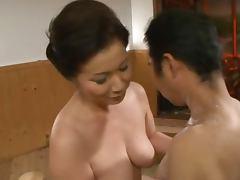 Mature Japanese Chizuru Iwasaki Giving a Soapy Handjob and Blowjob