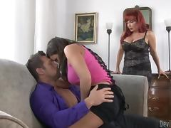 Ripped Dude Fucks A Hot Redhead Milf and Her Daughter porn video