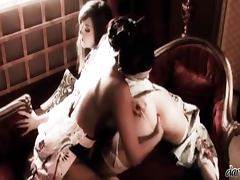 Sexy geisha Cate Harrington plays lesbian games with her friend