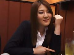 Momoka Nishina has meal with colleagues and gets a faceful of cum