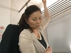 Train, Big Tits, Couple, Doggystyle, Handjob, Office