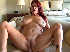 Redhead babe Tiffany Mynx is sucking Xander Corvus's cock