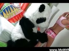 Naughty schoolgirl gets fucked by panda