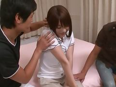 Lovely Japanese Teen Saya Aika Sucks Cock while Getting Fukced in Threesome