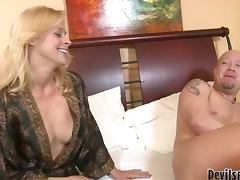horny blonde MILF getting fucked deep by her son in law porn video