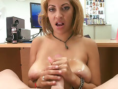 Sweet blonde Jazmyn is sucking dick