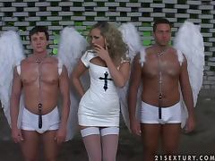 Mandy Bright the sexy angel gets fucked by two male angels