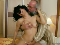 Brunette Whore Fucks an Older Bearded Man