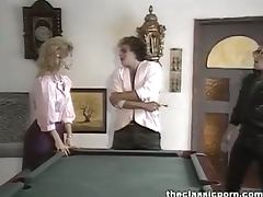 Strong orgasm on the billiard table