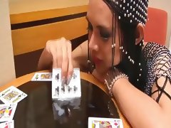 Tarot card reader shemale jerks off