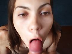 Russian girl swallows again and again