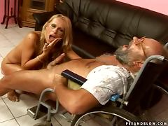 Naughty Vivian fucks a guy in a in a wheelchair