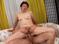 Lustful granny sucks a cock and gets her old pussy banged
