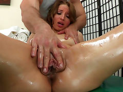 Oiled Alyssa Branch is sucking dick of John Strong