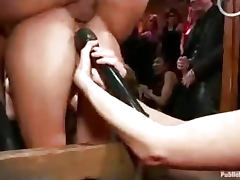 Bound babe ass fucked and fisted in public bar