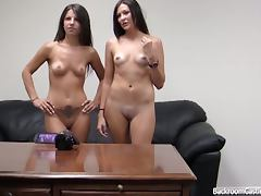 Backroomcastingcouch with melanie and natalee