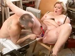 Fat granny Margarethe gets her meaty pussy fisted and toyed