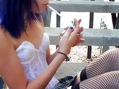 Punk girl smoking a cigarette FETISH HD