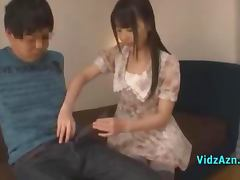 Asian Teen Giving Blowjob For Guy On The Bed In The Roo