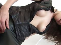 Claudia jazz rocks a sexy leather outift