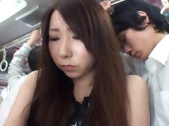 Horny Japanese Couple Fucking in the Public Bus Like Crazy