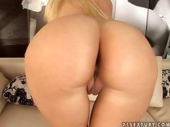 Pretty blonde in lace lingerie in great solo video