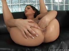 Naughty Eve Angel masturbates in self fisting video