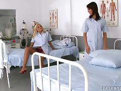 Lustful Nurses Have A Lesbian Scene While At Work
